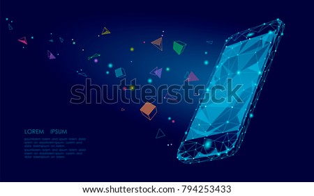 E-book mobile smartphone 3d virtual reality visual imagination mind effect. Low poly polygonal geometric shapes. Creative e-learning reading electronic touch screen blue media vector illustration
