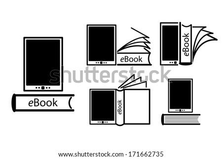 E-book reader, e-reader vector icons set Photo stock ©