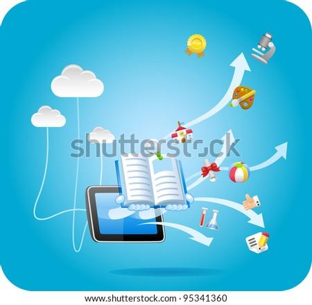E-book,tablet PC,cloud computing ,education concept