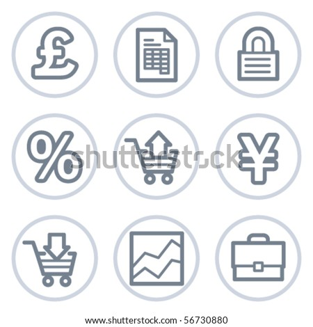 E-business web icons, white circle series