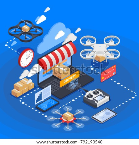 E-commerce and goods delivery by drones isometric composition on blue background with uav controller vector illustration