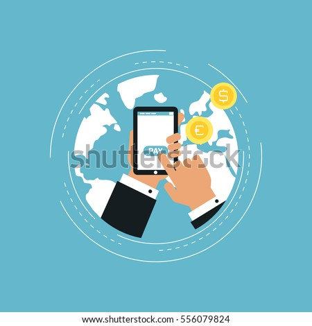 E-commerce and m-commerce flat vector illustration design. Business concept for online shopping, e-banking, discounts, sales, wire transfers, m-banking. Design for web banners and apps
