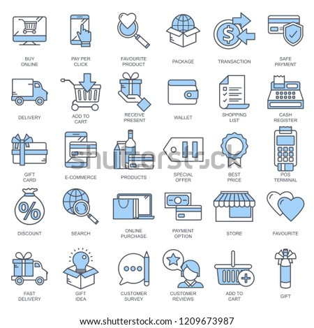 E commerce and shopping icon collection. Flat vector illustration