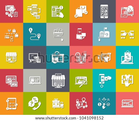 e-commerce and shopping Icons, online store, online business, online marketing