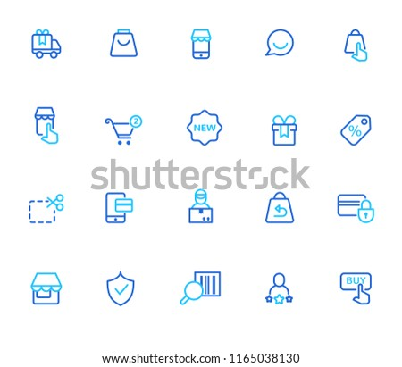 E-commerce and shopping icons, simple line set