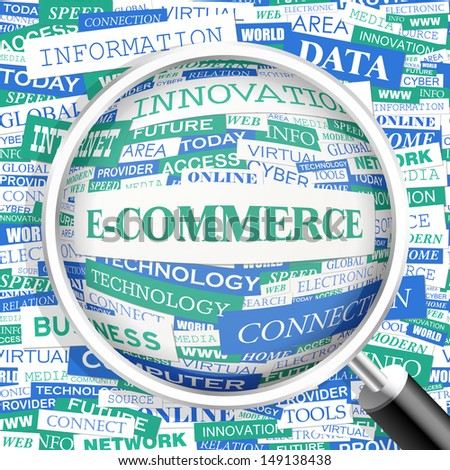 E-COMMERCE. Background concept wordcloud illustration. Print concept word cloud. Graphic collage with related tags and terms. Vector illustration.