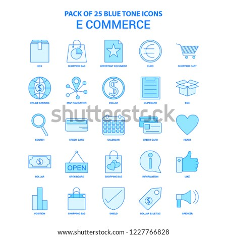 E-Commerce Blue Tone Icon Pack - 25 Icon Sets #1227766828