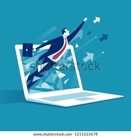 E-commerce Breakthrough.  Businessman breaks surface of laptop monitor. Business vector illustration.