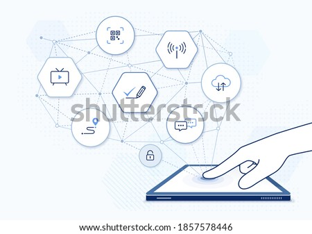 e-commerce business network illustration: digital economy concept, e business network with icons, online education platform. Finger tapping touch screen of tablet PC, side view of hand