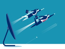 E-commerce. Business persons breaking surface of a computer display powered by a rocket engine. Business vector illustration