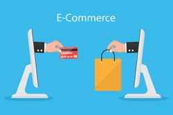 e-commerce concept. hands reaching out of a computer screen holding a shopping bag and  credit card. vector illustration flat design. business marketing online.
