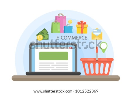 E-commerce concept illustration with laptop and shopping cart.