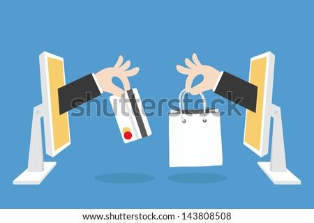 e-commerce concept minimal design, vector