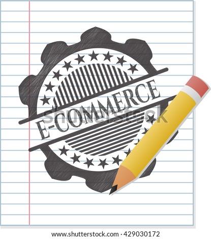 e-commerce drawn in pencil