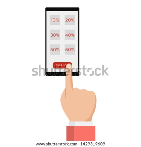 E-commerce, e commerce, sale online shopping, hand with smartphone,discount label message. Mobile payments,advertising customer information. Modern trendy flat design vector illustration