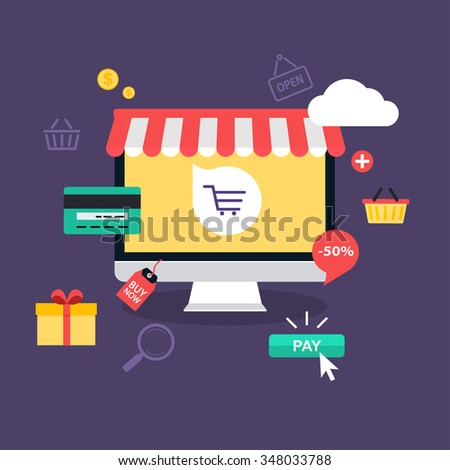 E-commerce, electronic business, online shopping, payment, delivery, shipping process, sales. Infographic concept vector.