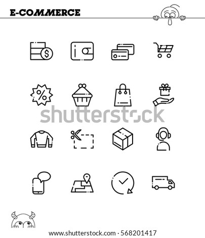 E-commerce flat icon set. Collection of high quality outline symbols for web design, mobile app. E-commerce vector thin line icons or logo.