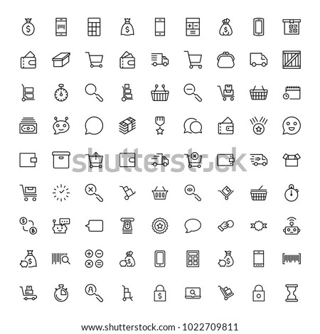 E-commerce flat icon set . Single high quality outline symbol of info for web design or mobile app. Thin line signs for design logo, visit card, etc. Outline logo of e-commerce
