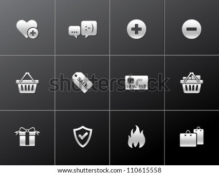E commerce icon series in metallic style