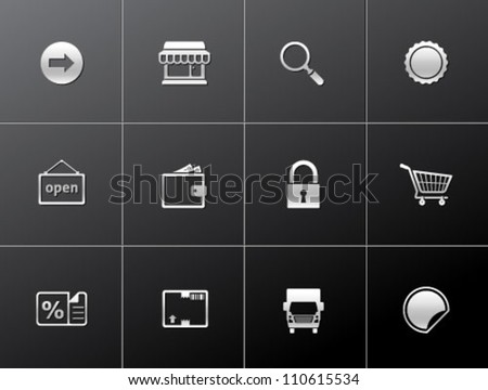 E commerce icon set in metallic style
