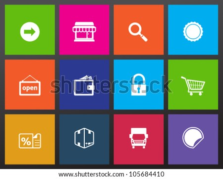 E-commerce icon set in metro style.