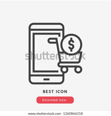 E-commerce icon vector. Online shopping symbol. Linear style sign for mobile concept and web design. Payment symbol illustration. Pixel vector graphics - Vector.