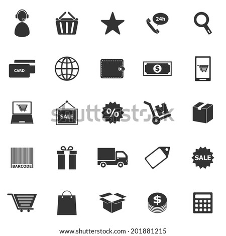 E-commerce icons on white background, stock vector