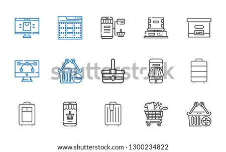 e-commerce icons set. Collection of e-commerce with e commerce, shopping cart, trolley, online shopping, payment method, basket, shopping basket. Editable and scalable e-commerce icons.