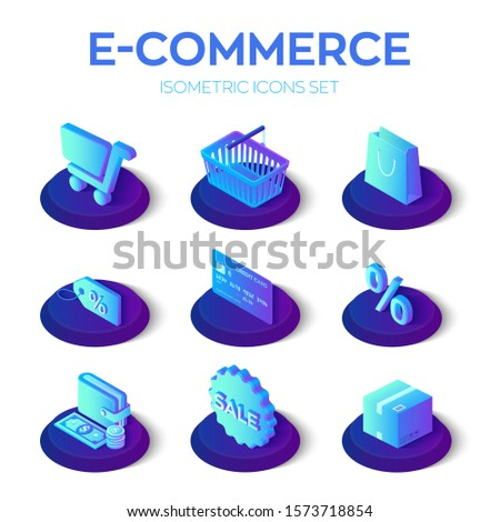 E-commerce icons set. Digital marketing. Online shopping. 3D isometric online store icons for website or mobile application. Bank card, money, shopping cart and bag, price, sale. Vector illustration.