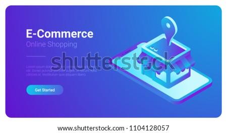 E-commerce isometric vector illustration. Web Shop Store in Smartphone.