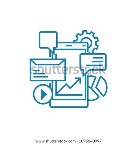 E-commerce linear icon concept. E-commerce line vector sign, symbol, illustration.