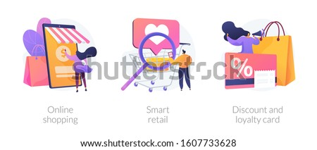 E commerce offers. Customer attraction. Cashback and rebate programs. Online shopping, smart retail, discount and loyalty card metaphors. Vector isolated concept metaphor illustrations