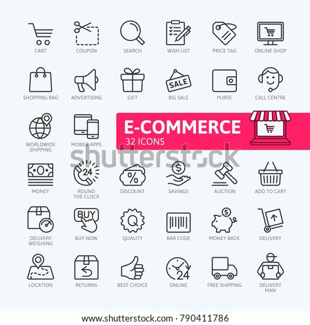 E-commerce, online shopping and delivery elements - minimal thin line web icon set. Outline icons collection. Simple vector illustration. #790411786