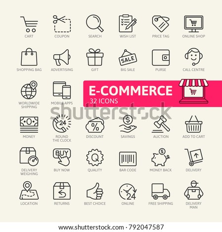 E-commerce, online shopping and delivery elements - minimal thin line web icon set. Outline icons collection. Simple vector illustration. #792047587