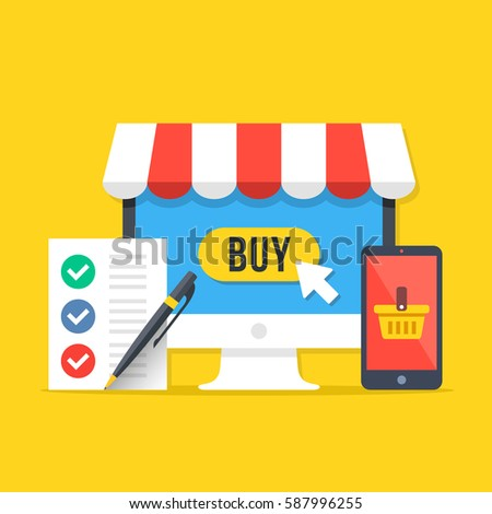 E-commerce, online shopping concepts. Desktop computer with buy button, smartphone with shopping basket, shopping list with pen. Modern flat design graphic elements set. Vector illustration