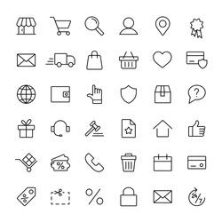 e-commerce online shopping line black 36 icons set