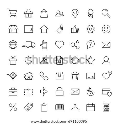 e-commerce online shopping line black 49 icons set