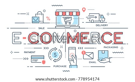 E-commerce, online shopping, retail, sale, delivery service thin line concept. Vector illustration. Editable stroke.