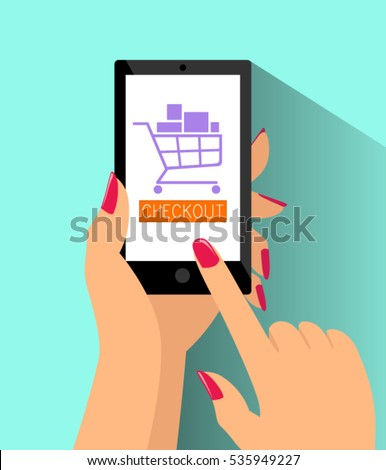 E-Commerce Online Shopping Web Site Checkout Page Mockup Template Layout with Woman Hand Holding Smartphone Vector Illustration