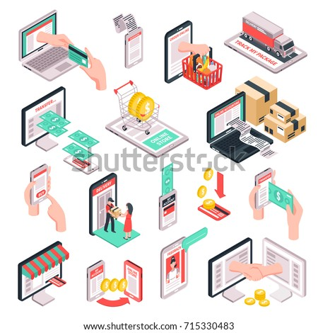 E-commerce online store shopping isometric elements collection with smartphone and credit card payments isolated vector illustration