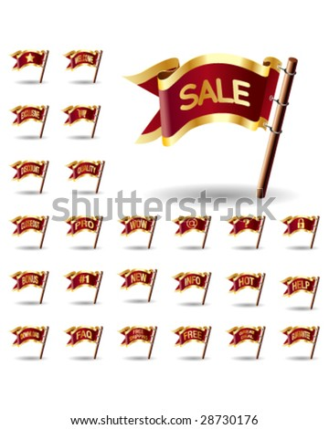 E-commerce or online shopping icon set on royal vector flag buttons - good for print, web, advertising, and promotion