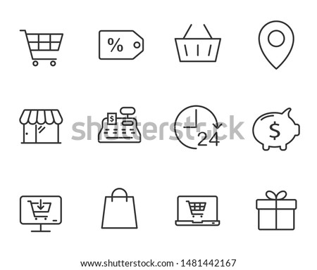 e-commerce outline vector icons set isolated on white background. business commerce comcept. e commerce flat icons for web, mobile and ui design.