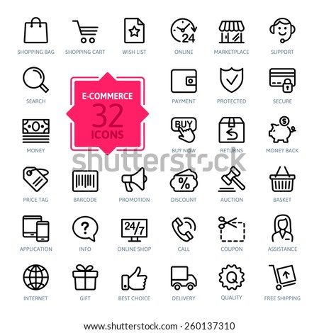 E-commerce. Outline web icons set  #260137310