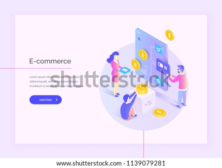 E-commerce. People are developing the interface of a web application, an online store. Electronic payments. Modern vector illustration isometric style.