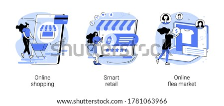 E-commerce platform abstract concept vector illustration set. Online shopping, smart retail, online flea market, internet store, mobile application, digital product catalog, auction abstract metaphor.