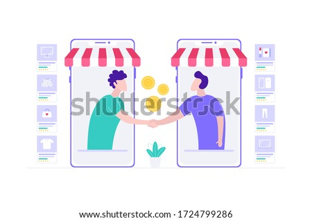 E-Commerce Reseller Agreement Online Shopping Vector Illustration, Suitable for Web Banners, Infographics, Book, Social Media, And Other Graphic Assets Photo stock ©