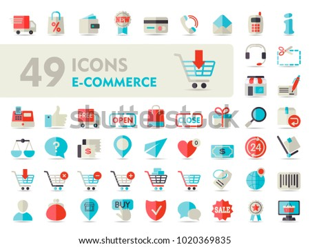 E-commerce set vector icons shopping and online. Graph symbol for your web site design, logo, app, UI. Vector illustration, EPS10.