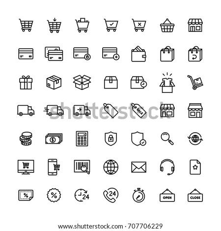 E-commerce Shop On-line Icon Set Photo stock ©