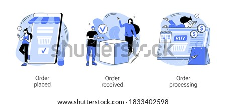 E-commerce shopping abstract concept vector illustration set. Order placed and received, order processing, online booking, customer service, warehouse software, virtual purchase abstract metaphor.