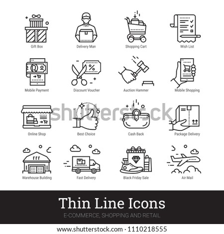 E-commerce, shopping and retail business thin line icons. Modern linear logo concept for web, mobile application. Online shop, delivery service, sales, cash back, wish list symbols. Outline vector set